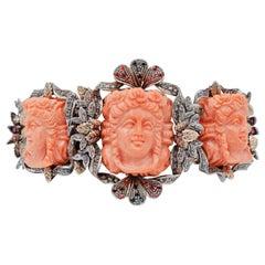 Coral Diamonds Rubies Colored Stones 9 Karat Rose Gold and Silver Retrò Bracelet