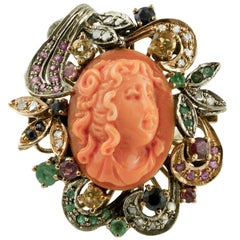 Coral Diamonds Rubies Emeralds Sapphires 9 Karat Rose Gold and Silver Retro Ring