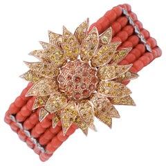 Coral, Diamonds, Sapphires, 9 Karat Rose Gold and Silver Retrò Bracelet