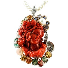 Coral, Diamonds, Sapphires, Emeralds, Pearls, 14 Karat White & Rose Gold Pendant