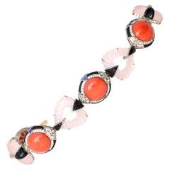 Coral Diamonds Sapphires Onyx Quartz Bracelet 18 Karat Gold