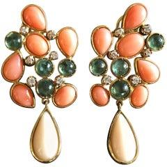 Coral Diamonds Tourmaline 18 Karat Yellow Gold Earrings