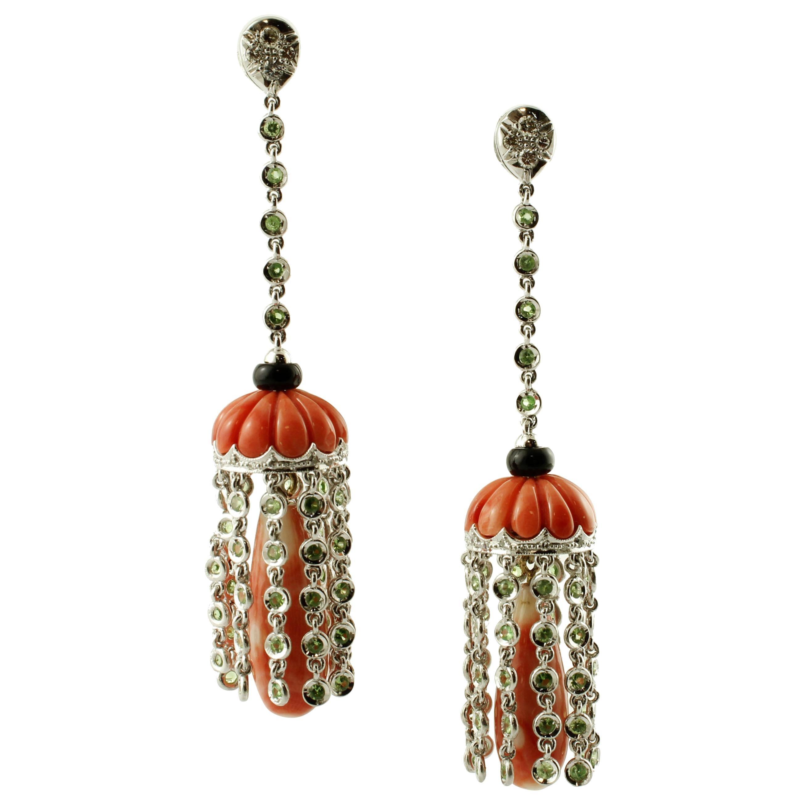 Red Coral, Diamonds, Tsavorite, Onyx 14 Karat White Gold Dangle Earrings