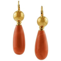 Coral Drop, 18 Karat Yellow Gold Dangle Earrings