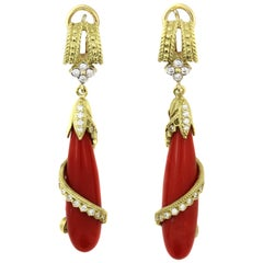 Coral Drop Earrings with Yellow Gold and Diamonds Stambolian