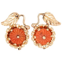 Coral Earrings 14 Karat Yellow Gold Leaf Design Lever Backings Estate Jewelry