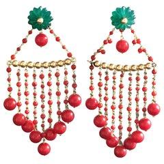 Coral Earrings Carved Emerald Flowers 18 Karat Gold