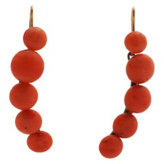 Coral Earrings in Hanging Form