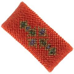 Coral Emerald Sapphire Beads 18 Karat Gold Beaded Woven Clamper Cross Bracelet