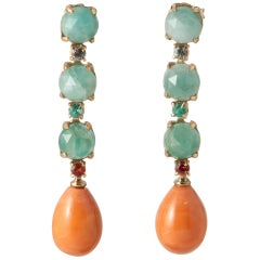 Coral, Emerald, Sapphire on Yellow Gold 18 Carat Chandelier Earrings
