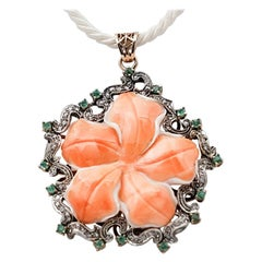 Coral, Emeralds, Diamonds, 9 Karat Rose Gold and Silver Pendant Necklace