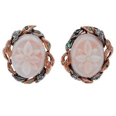 Coral, Emeralds, Diamonds, 9 Karat Rose Gold and Silver Stud Earrings