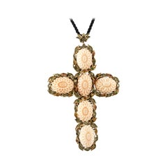Coral Emeralds Rubies Diamonds, 9 Karat Rose Gold and Silver Retro Cross-Pendant