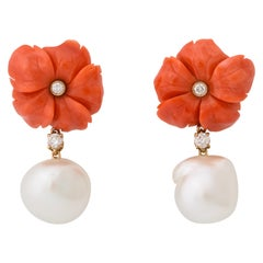 Coral Flower Baroque Pearl and Diamond Earclips
