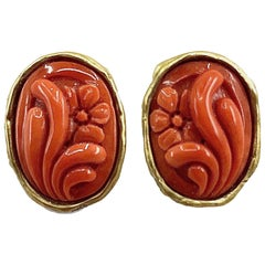 Coral Flower Cameo Post Earrings Set in 18 Karat Yellow Gold