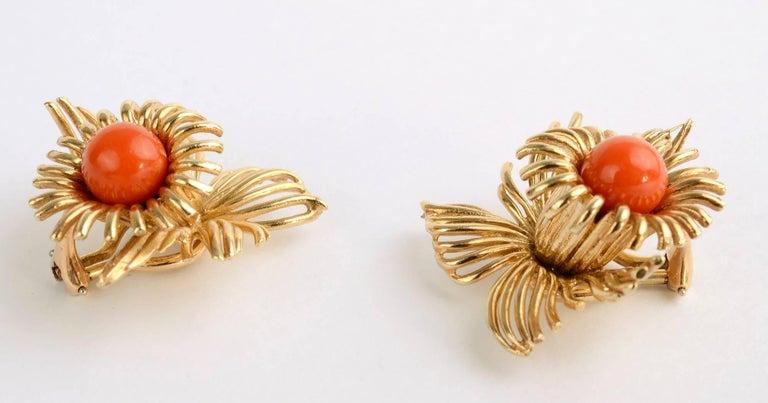 Modern Coral Flower Gold Earrings For Sale