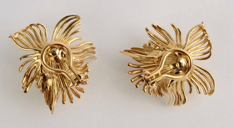 Women's Coral Flower Gold Earrings For Sale
