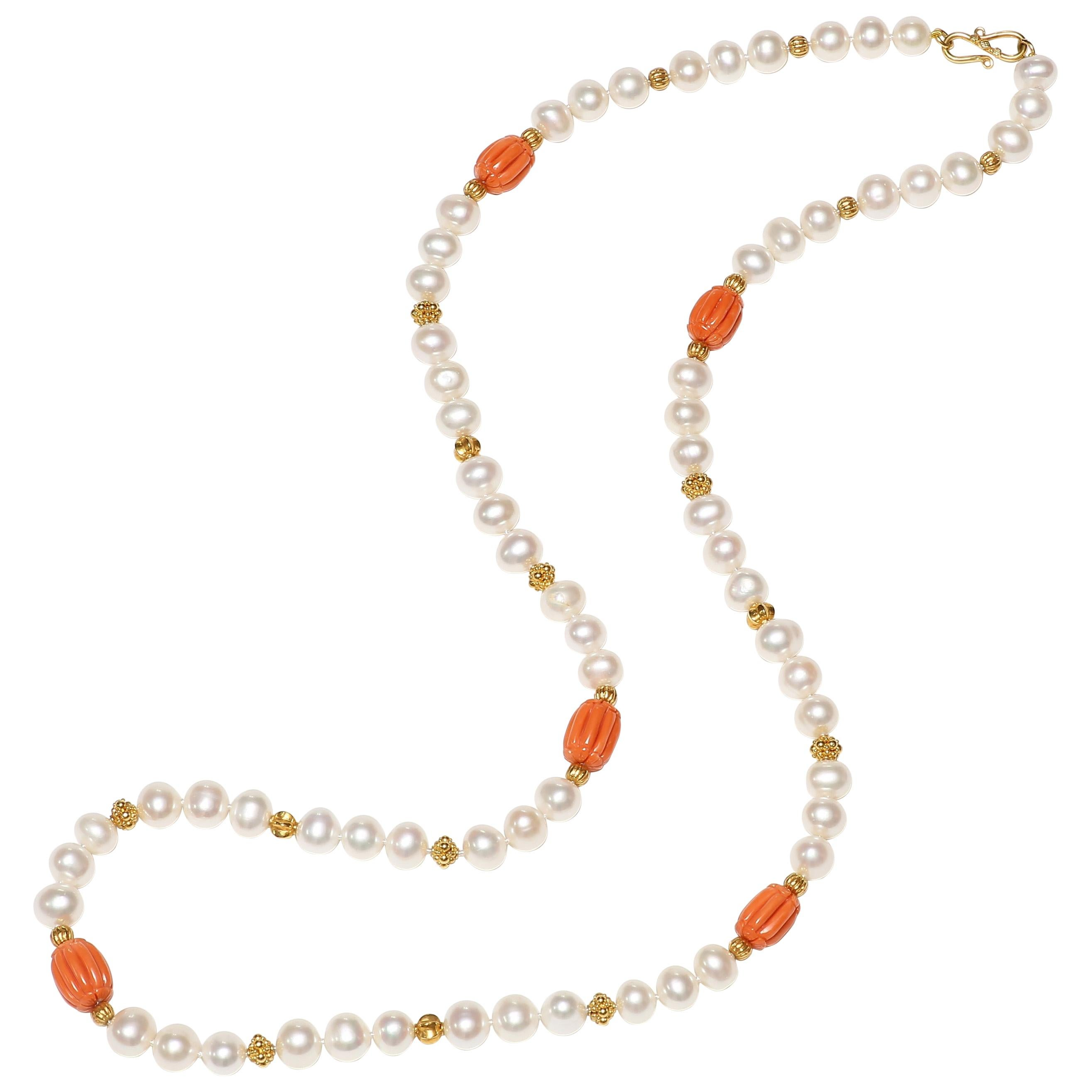 Coral, Freshwater Pearl and Gold Necklace