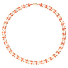 Coral Freshwater Pearl Choker Necklace Vintage 14k Yellow Gold Chain Strand