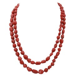 Coral Garnets Diamonds 9 Karat Rose Gold and Silver Clasp Multi-Strands Necklace