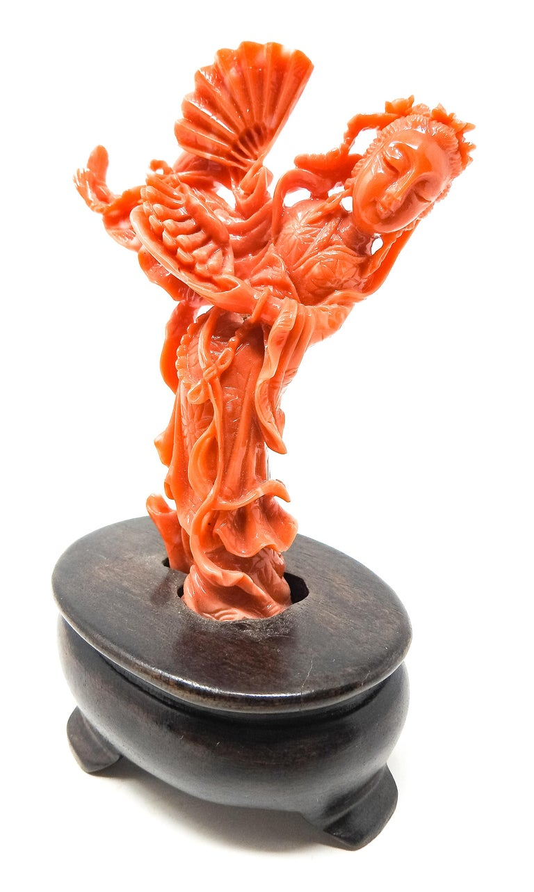 Chinese Coral Geisha Figure on Wooden Base For Sale