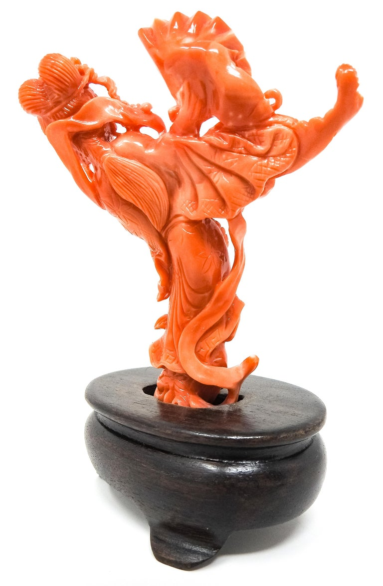 Coral Geisha Figure on Wooden Base For Sale 1