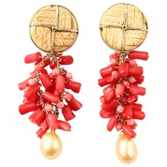 Coral Gold Dangle Earrings