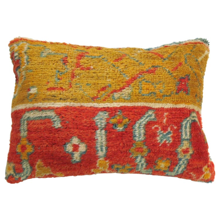 Coral Gold Early 20th Century Wool Antique Oushak Border Large Rug Pillow For Sale