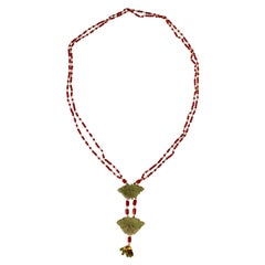 Coral Gold Jade Chinese Button Necklace