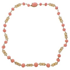 Coral Gold Long Necklace