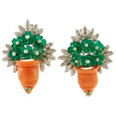 Coral, Green Agate, Emeralds, Diamonds, Flower Basket 14 Karat Gold Earrings