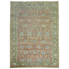 Coral Green Large 20th Century Antique Chinese Carpet