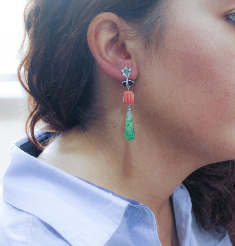 Women's Coral Jade Diamonds Onyx Emeralds White Gold Drop Earrings For Sale