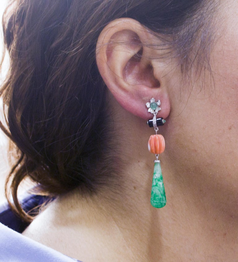 Coral Jade Diamonds Onyx Emeralds White Gold Drop Earrings For Sale 1