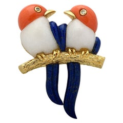 Coral Lapis and Diamond Bird Brooch Pin