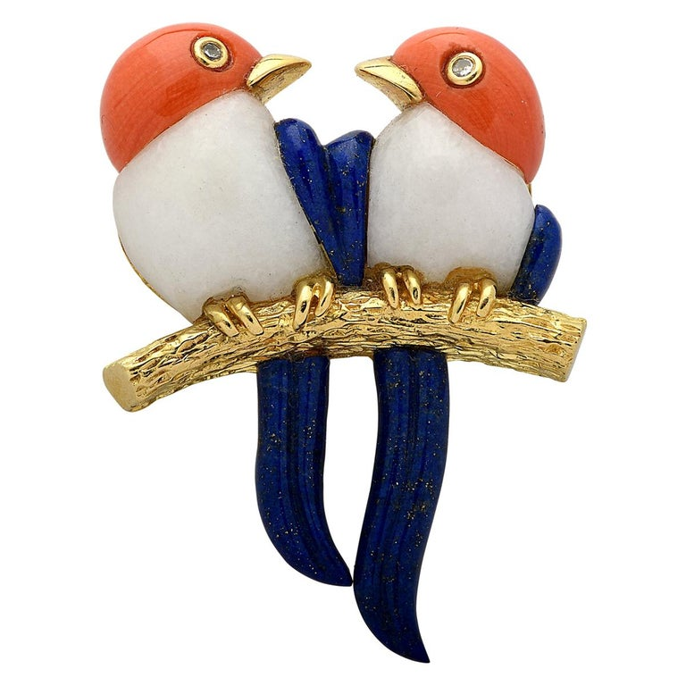Coral Lapis and Diamond Bird Brooch Pin For Sale