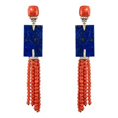 Coral Lapis Lazuli Diamonds White Gold Art Deco Style Dangling Earrings