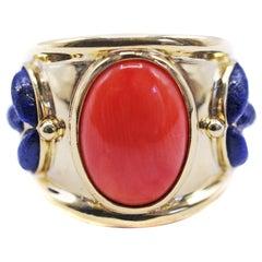 Coral Lapis Lazuli Gold Band Ring