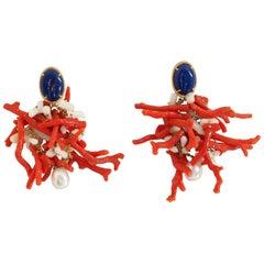 Coral Lapis Lazuli Natural Pearls Gold Earrings