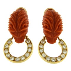 Coral Lion on 18 Karat Earrings with Diamonds