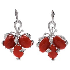 Coral, Little Diamonds, 14 Karat White Gold Lever Back or Dangle Earrings