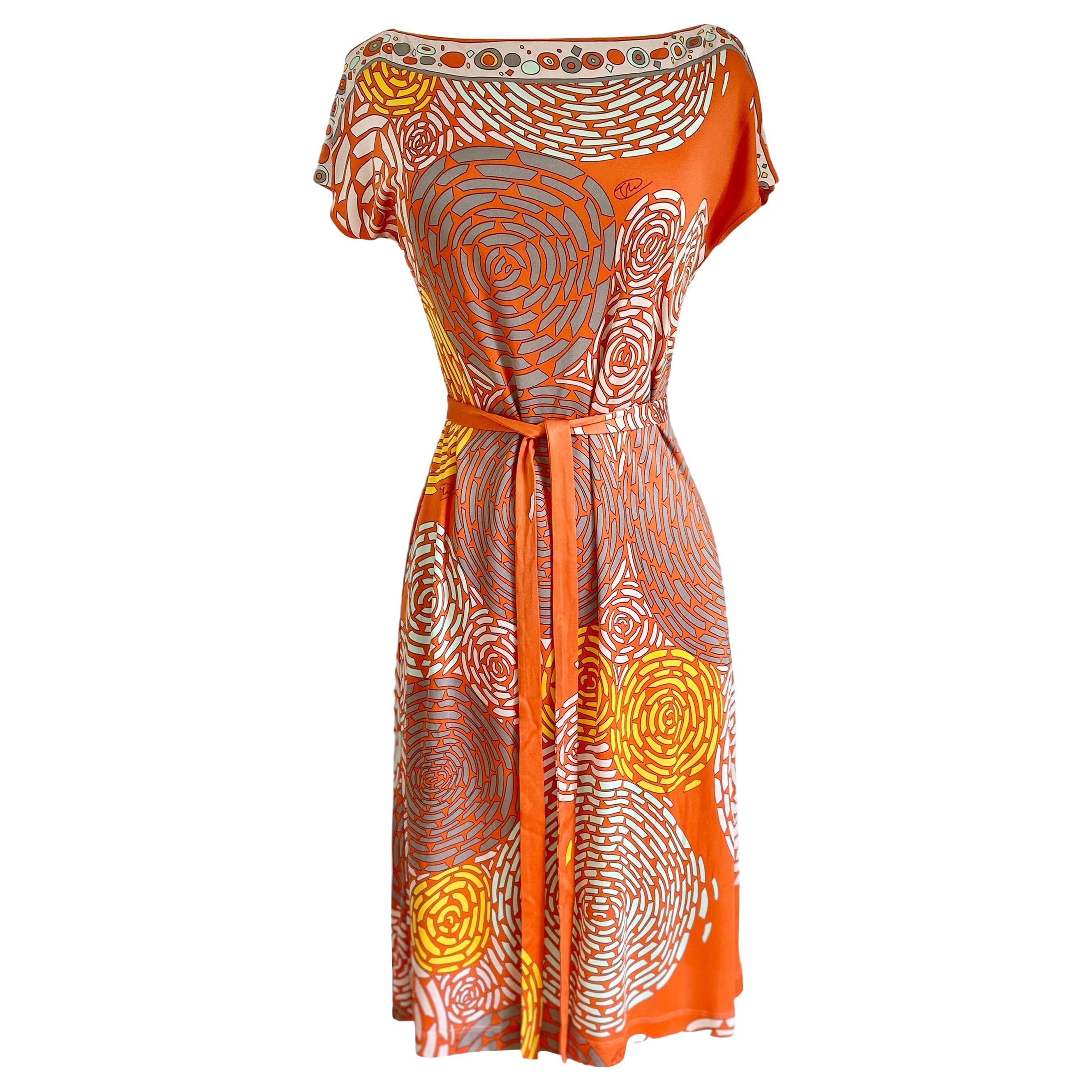 Coral mixed print silk jersey shift NINA dress