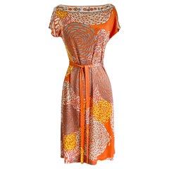 Coral mixed print silk jersey shift Nina dress size 6