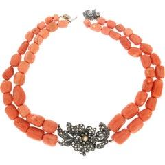 "Coral ""Momo"" 14 Karat Yellow Gold, Diamonds, Multi-Strand Necklace"