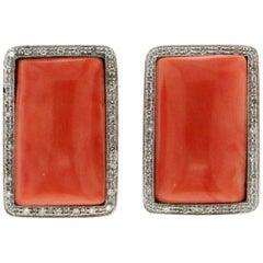 "Coral ""Momo"" 18 Karat White Gold Diamonds Clip-On Earrings"