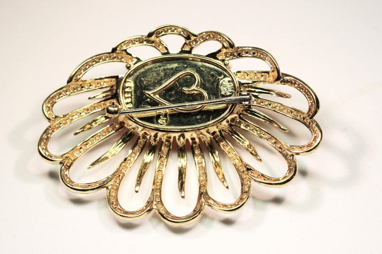 Henry Dunay Diamond Yellow Gold Floral Brooch In Excellent Condition For Sale In Melbourne, FL