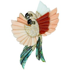Coral Mother of Pearl Diamond and Onyx Diamond Parrot Brooch