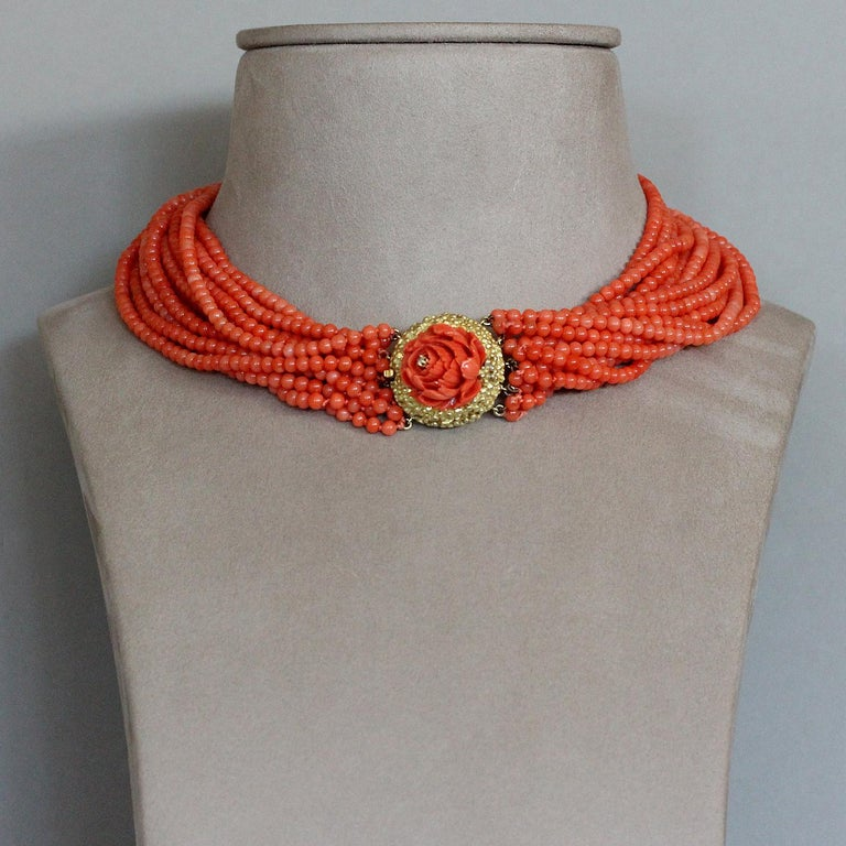 Women's Coral Multi-Strand Bead Rosette Gold Necklace For Sale