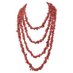 Coral, Multi-Strands Necklace
