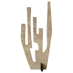 Coral N01, 21st Century Sculpture in Travertine and Metal